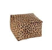 J-Line Pouf Square Animal Print Leopard Simili - Mix Color
