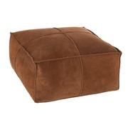 J-Line Pouf Square Stitching Simili Leather - Cognac