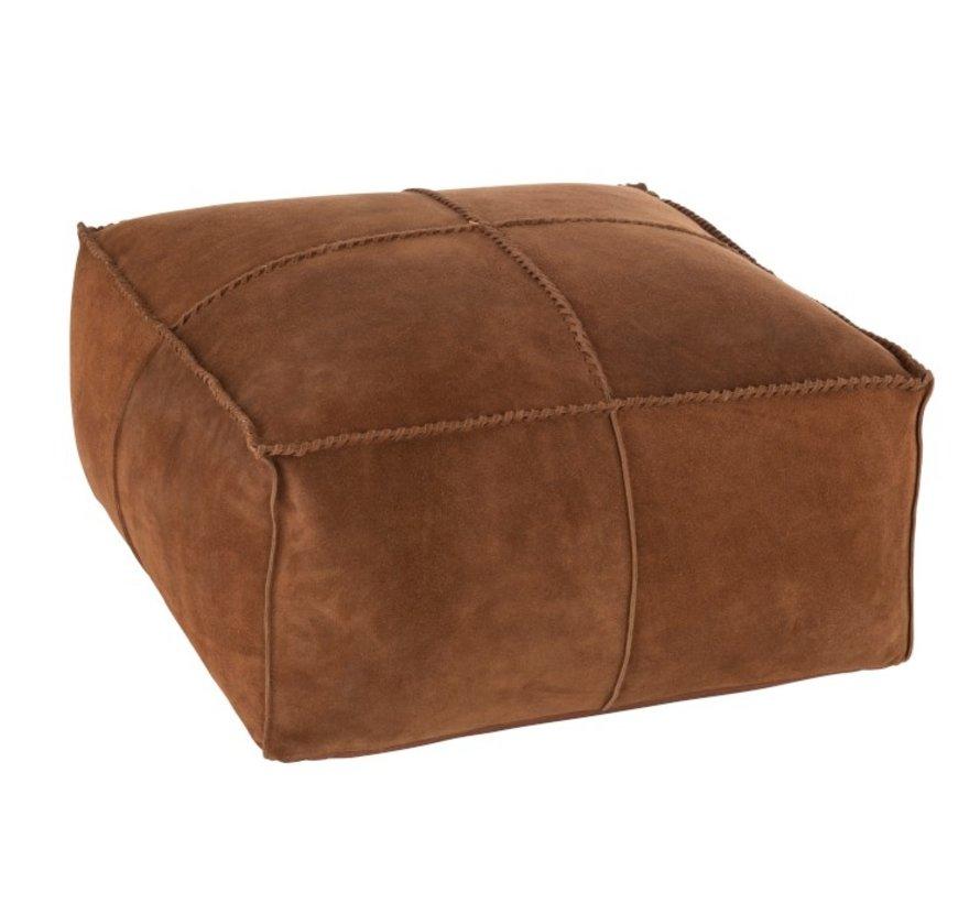 Pouf Square Stitching Simili Leather - Cognac
