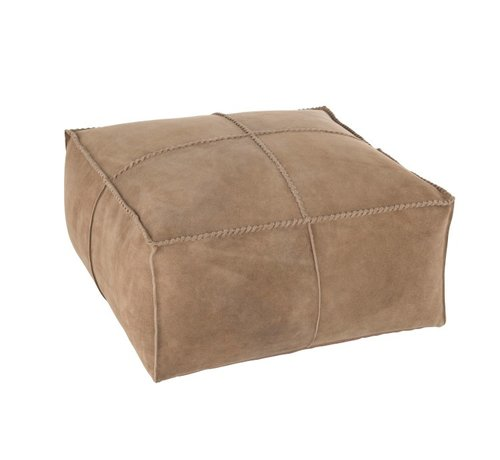 J-Line Pouf Square Stitching Simili Leather - Beige