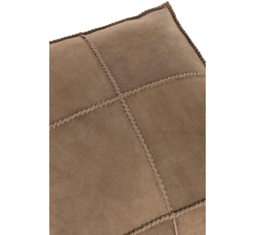 Pouf Square Stitching Simili Leather - Beige