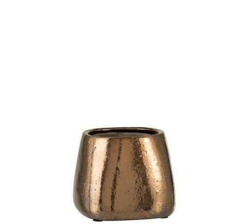 J -Line Bloempot Rechthoek keramiek Brons - Large