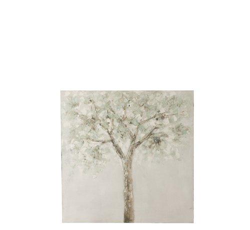 J -Line Wanddecoratie Canvas Boom Groen Wit - Bruin