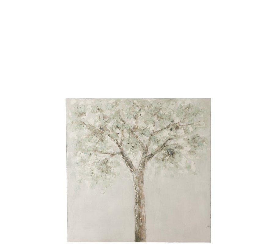 Wanddecoratie Canvas Boom Groen Wit - Bruin