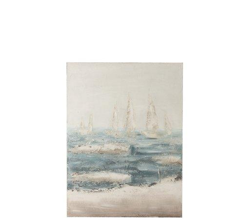 J -Line Wanddecoratie Canvas Zeilboten Op Zee Blauw - Wit