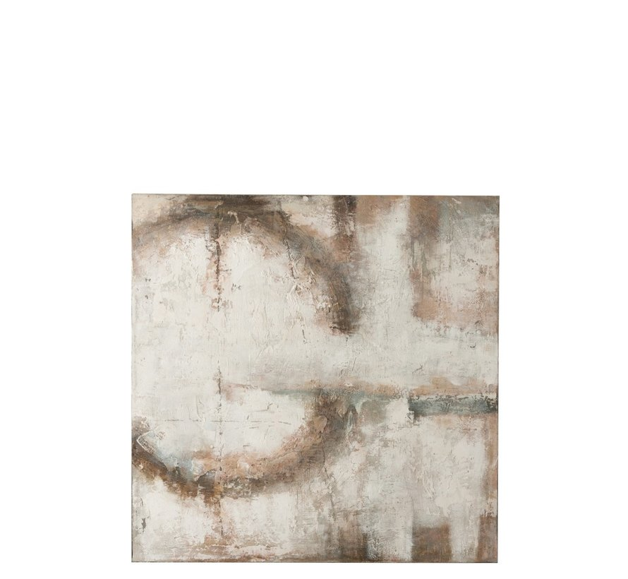 Wanddecoratie Canvas Abstract Ring Strepen Bruin - Wit