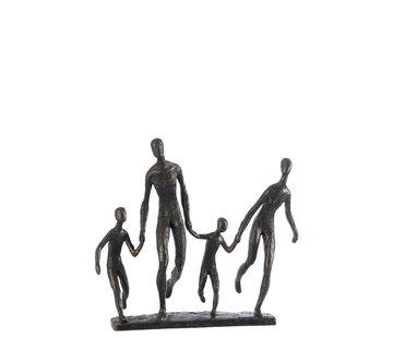J-Line Decoration Figure Walking Family On Foot - Dark Brown