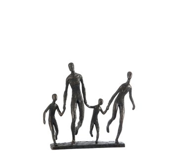 J -Line Decoration Figure Walking Family On Foot - Dark Brown
