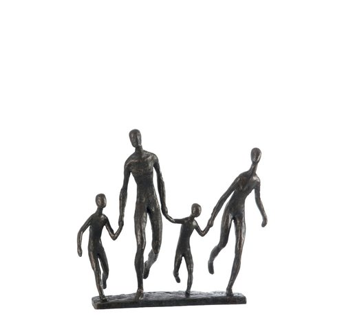 J -Line Decoration Figure Walking Family On Foot Poly - Dark Brown