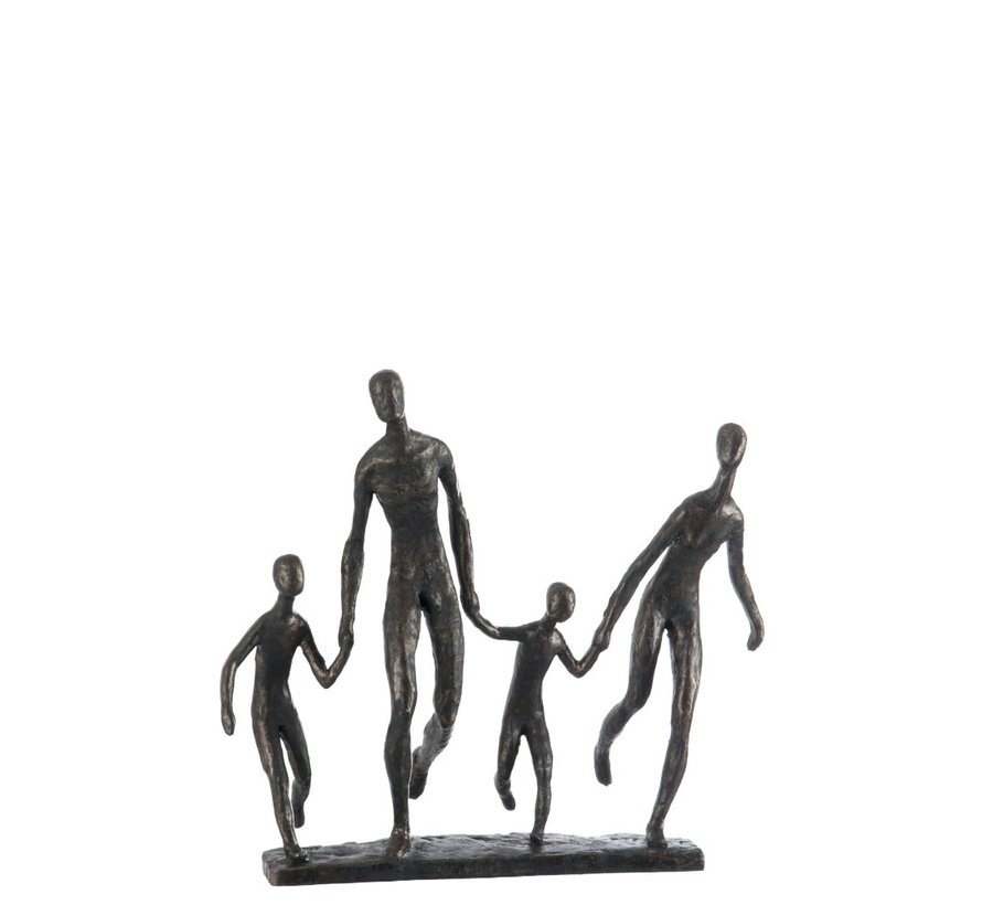 Decoration Figure Walking Family On Foot Poly - Dark Brown