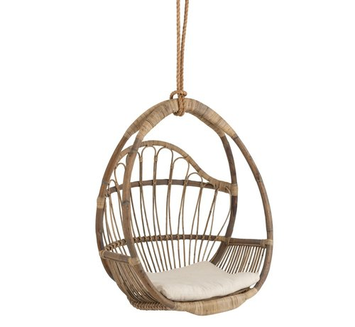 J -Line Hanging Chair Child Egg-shaped Rattan Natural - Brown