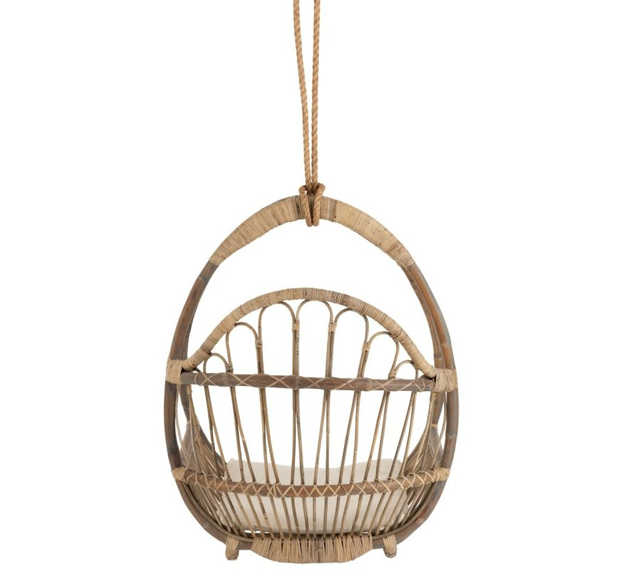 Hanging Chair Child Egg-shaped Rattan Natural - Brown