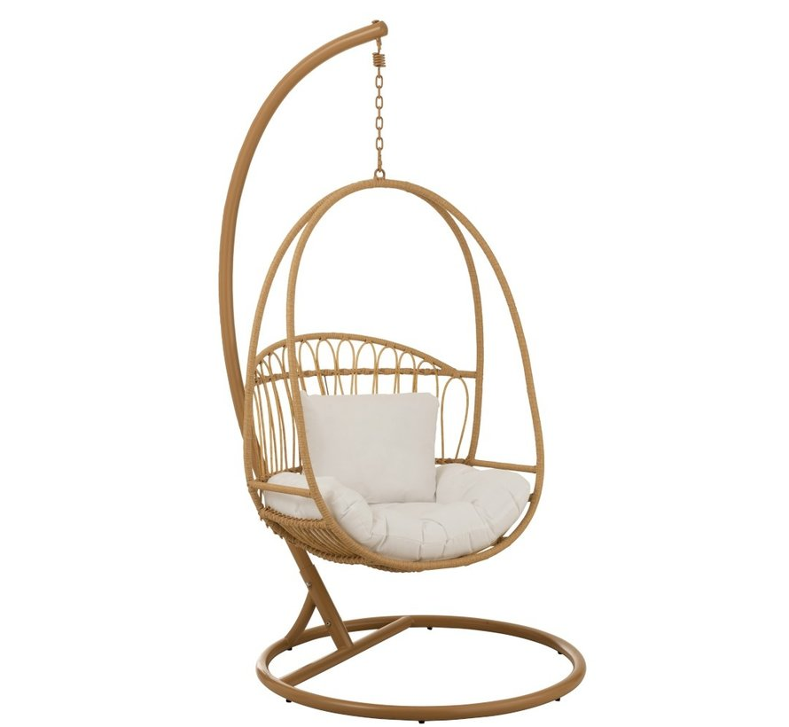 Hanging Chair 1 Person Oval Low Steel - Brown