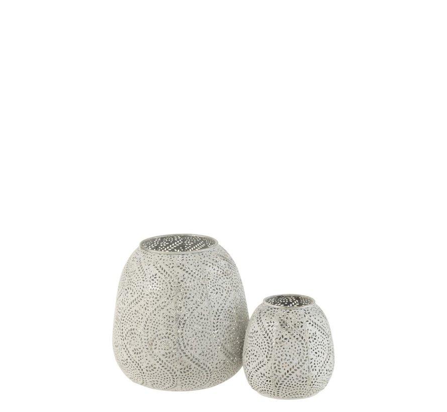 Tealight holder Oriental Pattern Metal White - Small