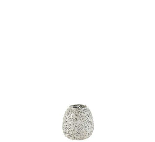 J -Line Tealight holder Oriental Pattern Metal White - Small
