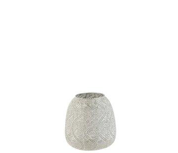 J -Line Tealight holder Oriental Pattern Metal White - Large