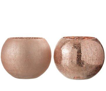 J-Line Tealight holder Glass Ball Crackle Pink - Large