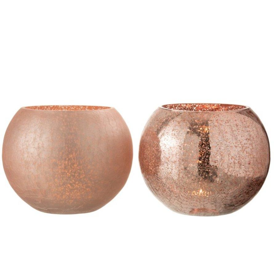 Tealight holder Glass Ball Crackle Pink - Large