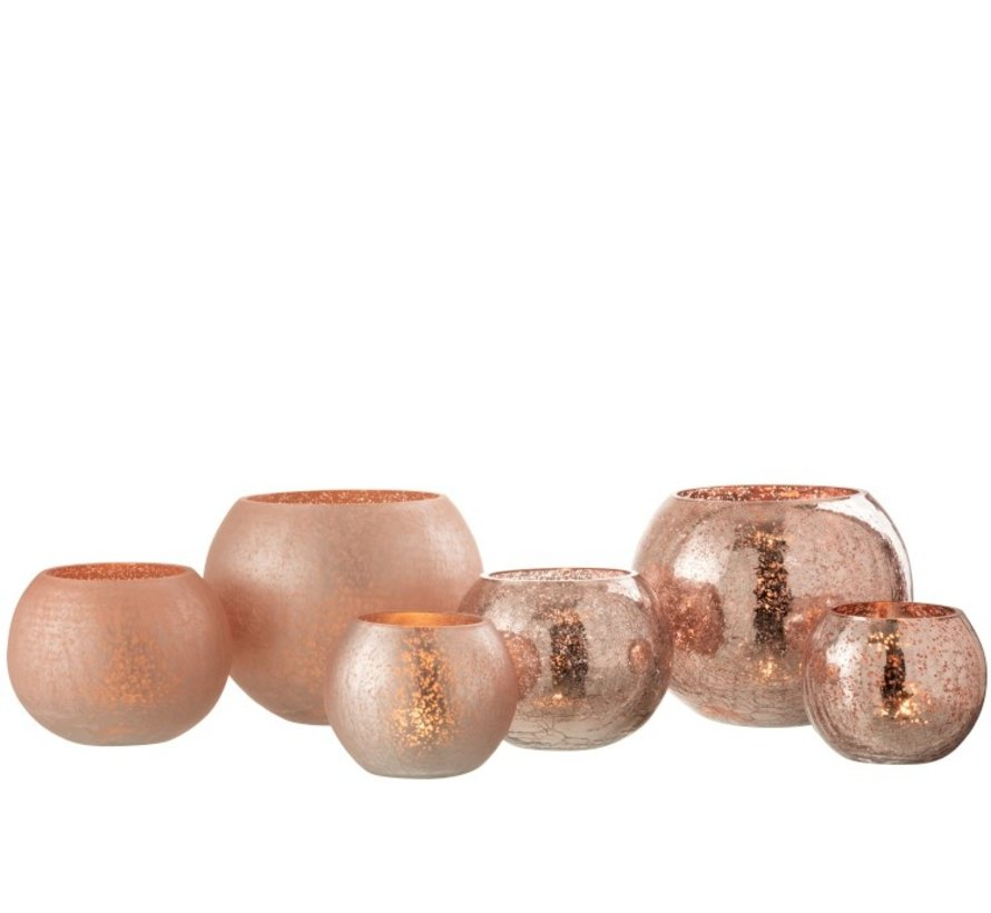 Tealight holder Glass Ball Crackle Matt Shiny Pink - Large