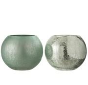 J -Line Tealight Holder Glass Ball Crackle Matt Shiny Green - Large