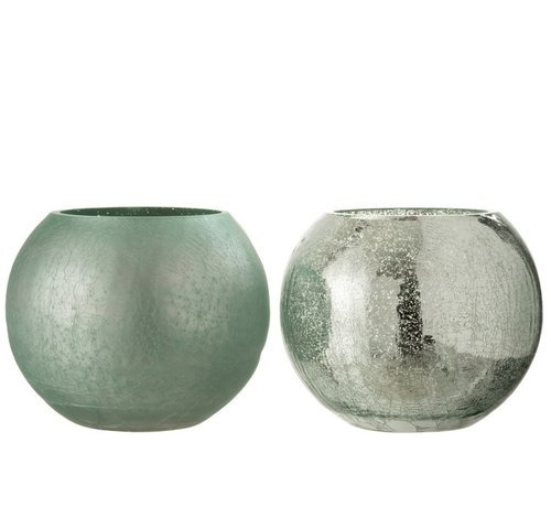 J -Line Theelichthouder Glas Bol Craquele Mat Blinkend Groen - Large