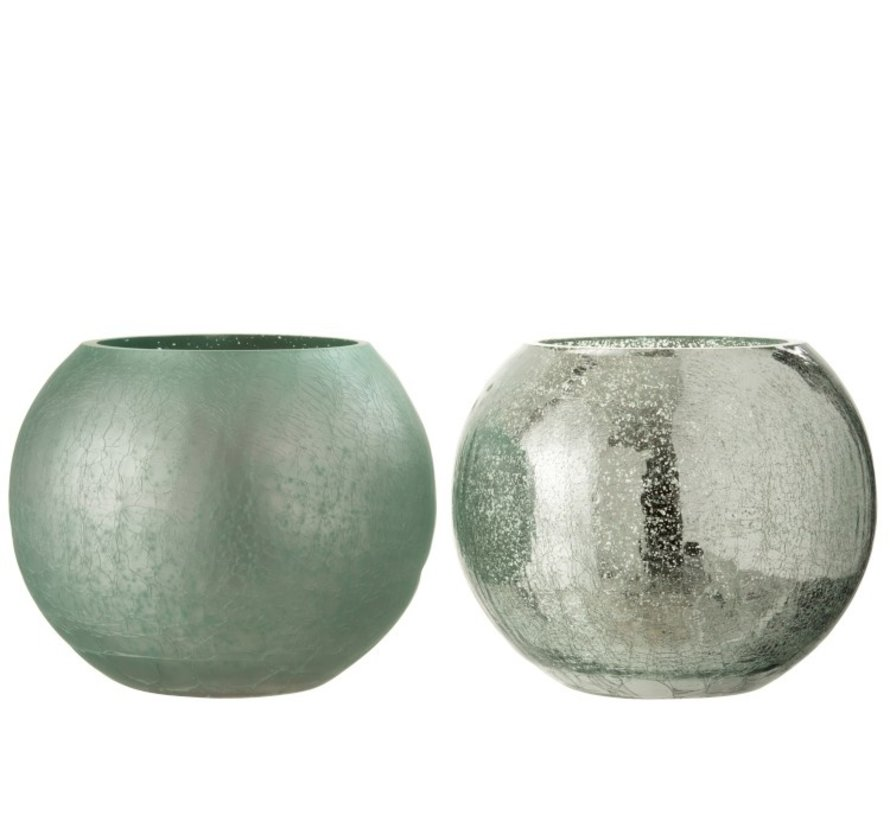 Theelichthouder Glas Bol Craquele Mat Blinkend Groen - Large