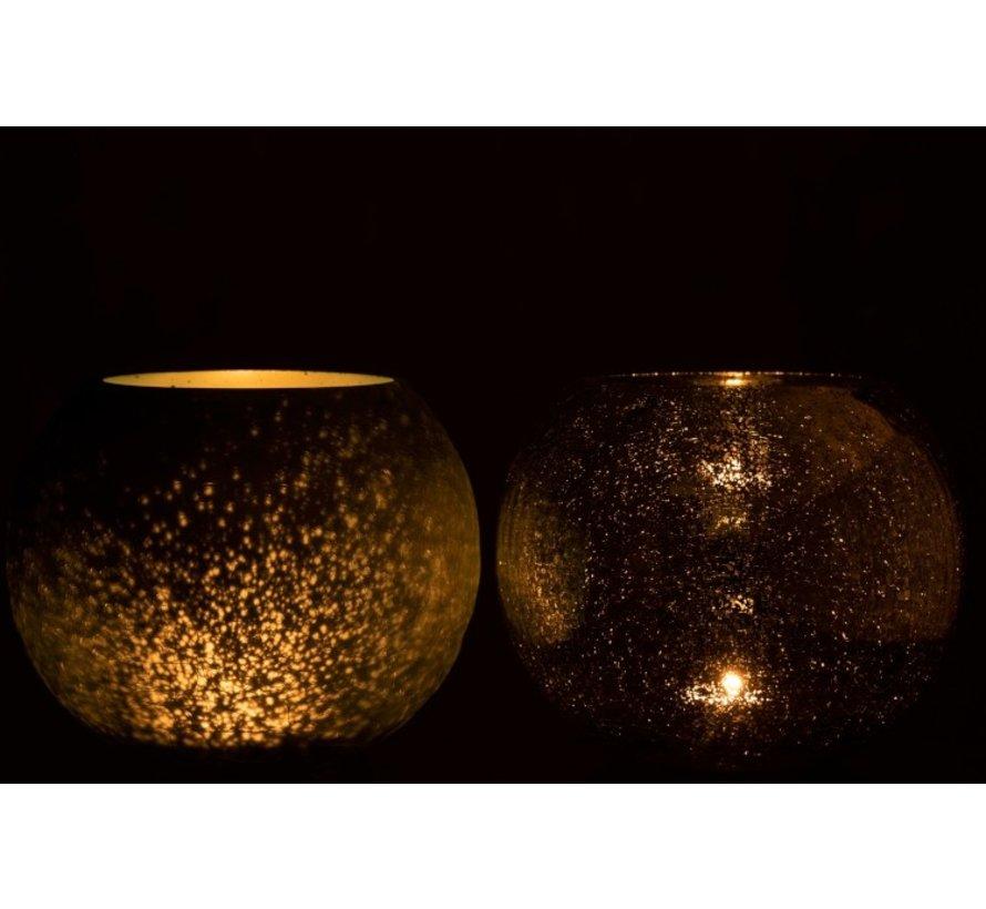 Tealight Holder Glass Ball Crackle Matt Shiny Green - Large