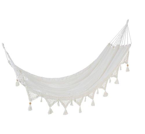 J-Line Hammock Cotton Linen Tassel Beads - White