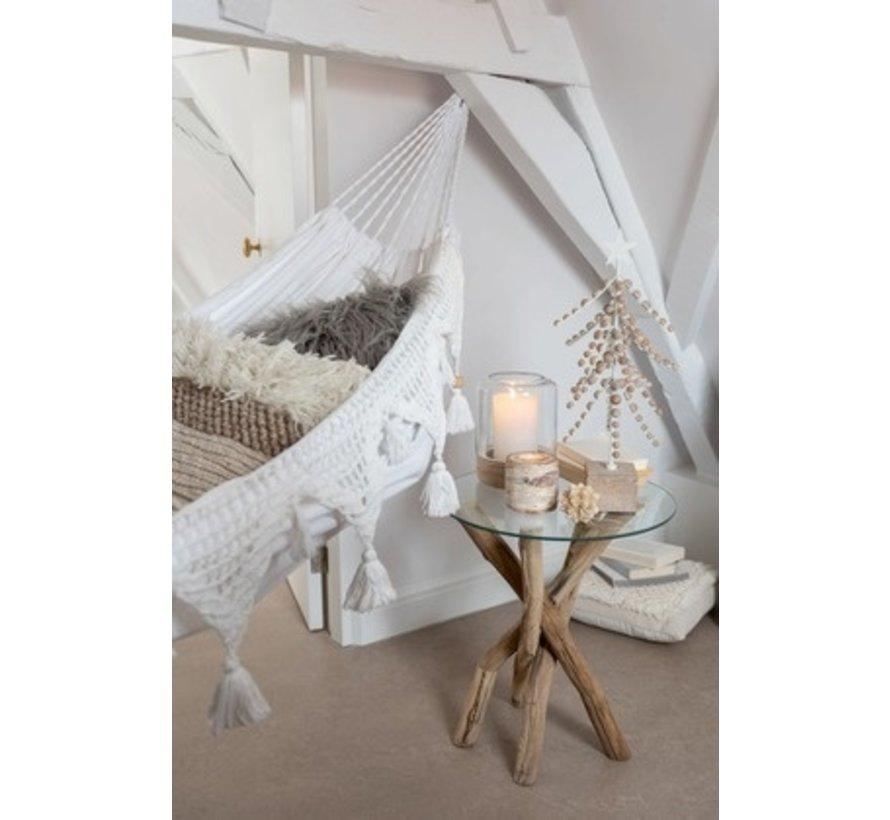 Hammock Cotton Linen Tassel Beads - White