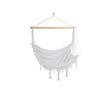 J-Line Hanging Chair 1 Person Cotton Buttons Beads - White