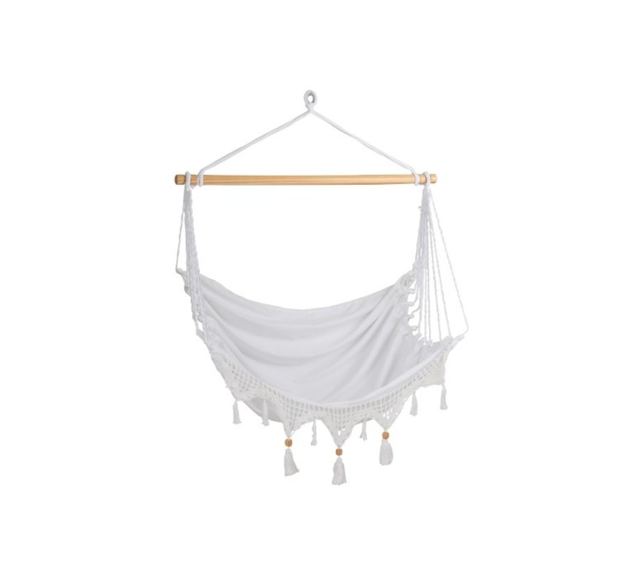 Hanging Chair 1 Person Cotton Buttons Beads - White