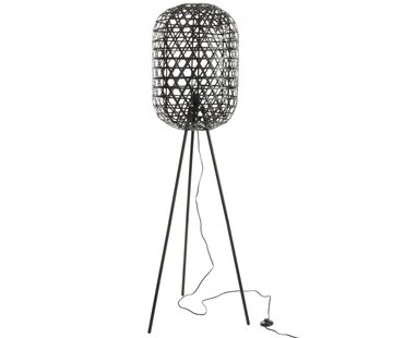 J -Line Floor Lamp Round On Legs Woven Bamboo - Black