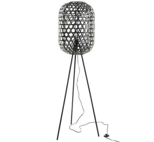 J -Line Floor Lamp Round On Legs Woven Bamboo - Black