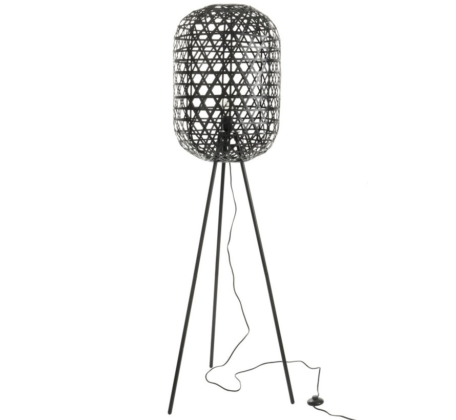 Floor Lamp Round On Legs Woven Bamboo - Black