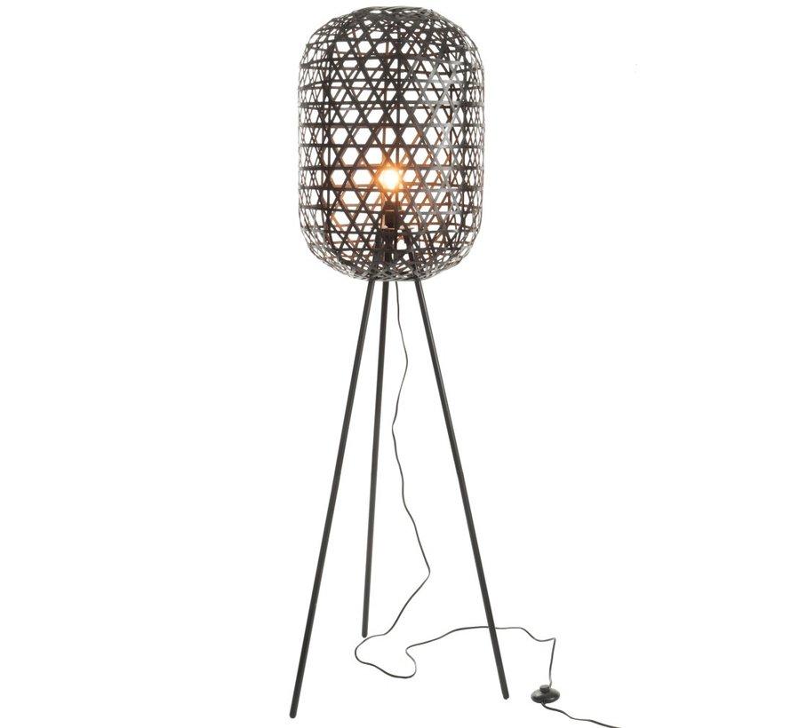 Staande Lamp Bamboe Zwart Large