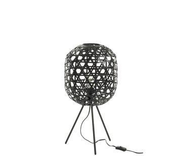 J-Line Tafellamp Bamboe Zwart Small