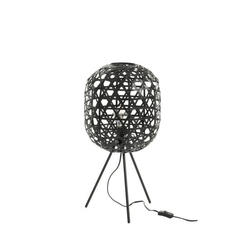 J -Line Round Table Lamp Woven Bamboo - Black