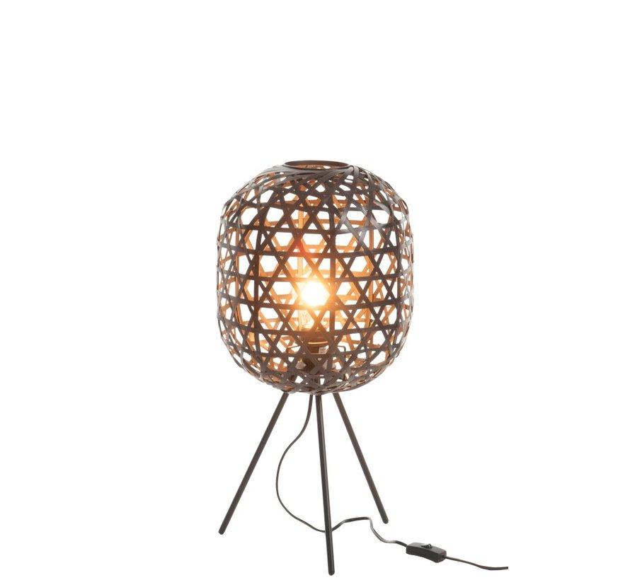 Tafellamp Rond Op Poten Geweven Bamboe - Zwart