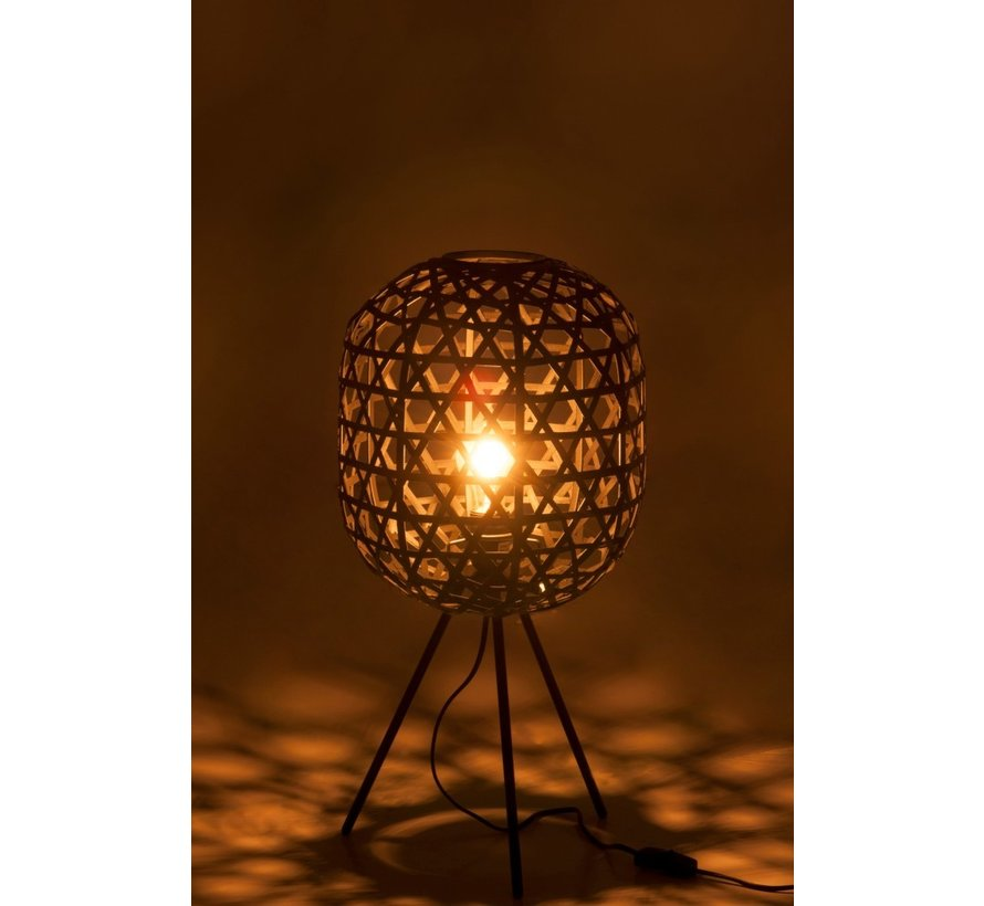 Round Table Lamp Woven Bamboo - Black