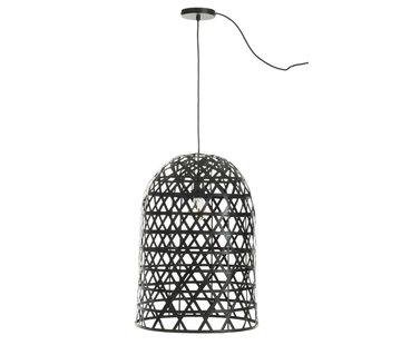 J -Line Hanglamp Cilinder Bamboe Zwart