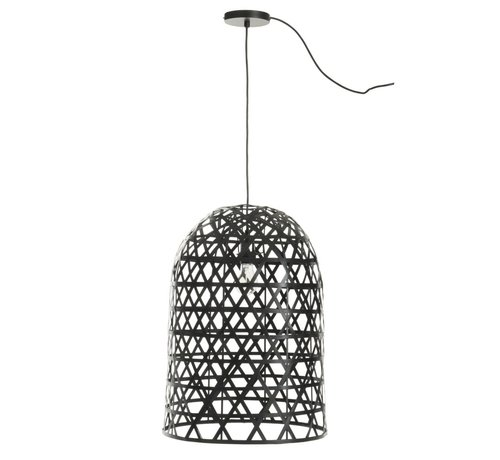 J-Line  Hanging lamp Cylinder Bamboo Black