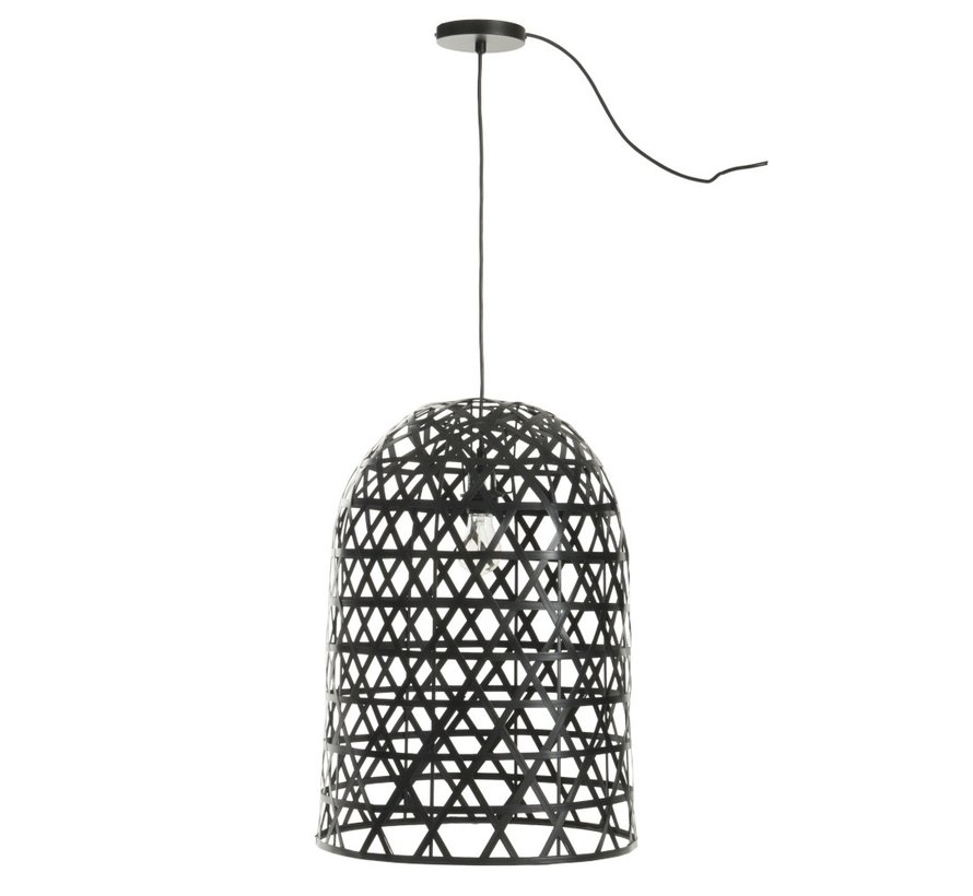 Hanging lamp Cylinder Bamboo Black
