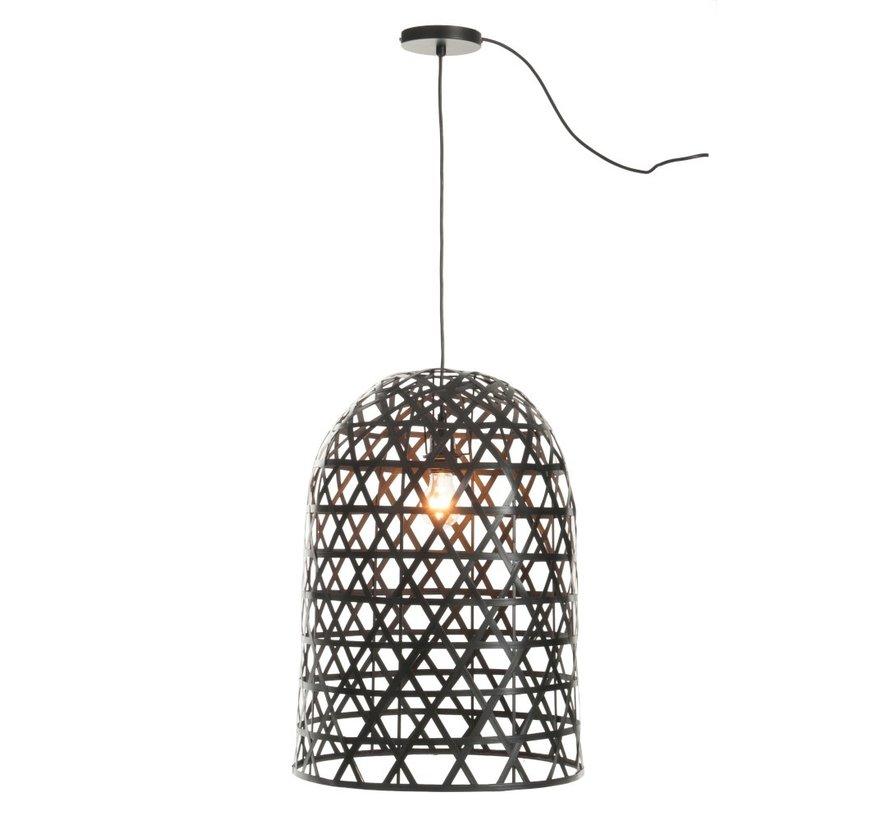 hanglamp Cilinder Geweven Bamboe - Zwart