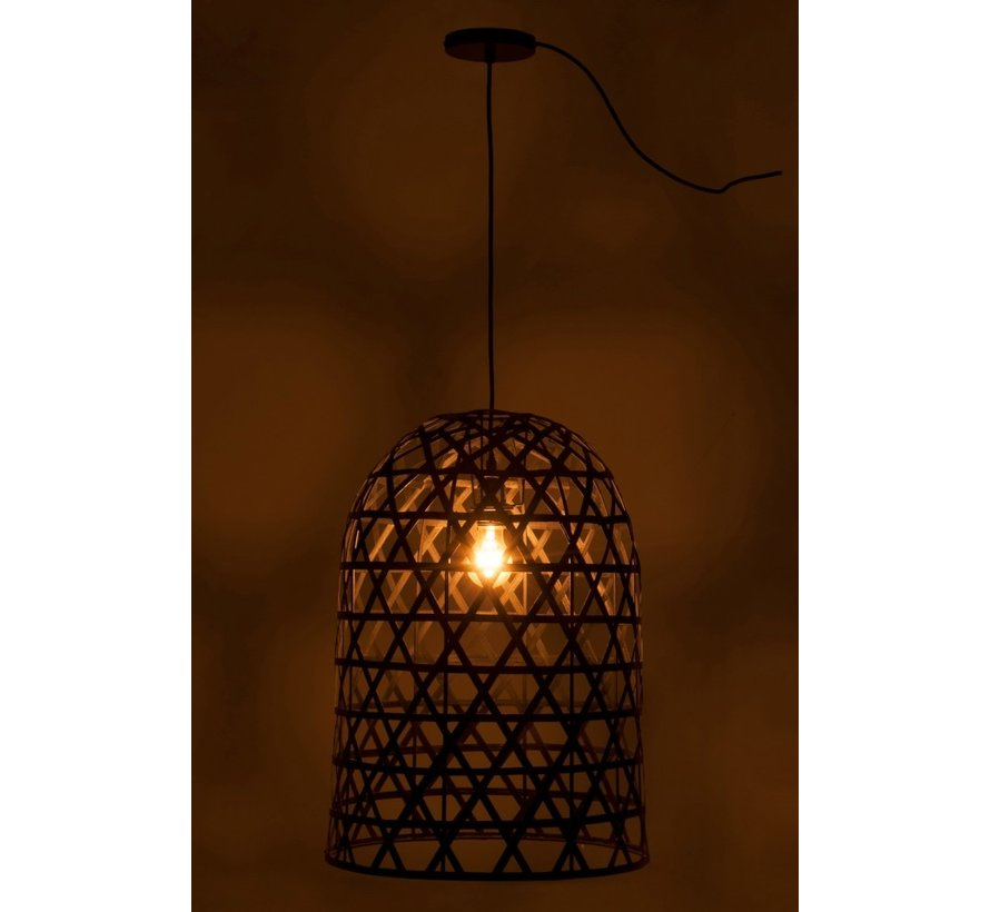 hanging lamp Cylinder Woven Bamboo - Black