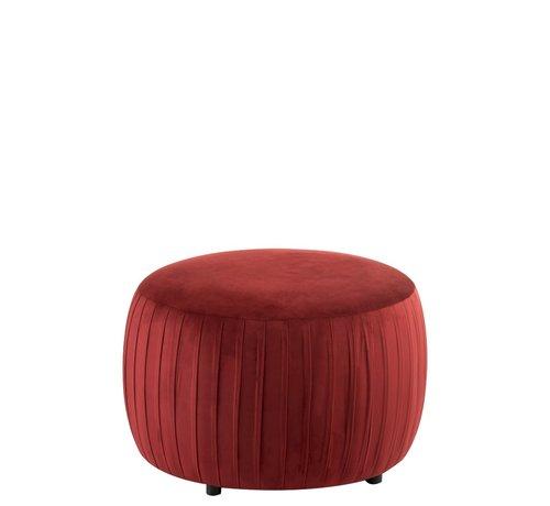 J -Line Pouf Round Luxurious On Legs Velvet - Bordeaux