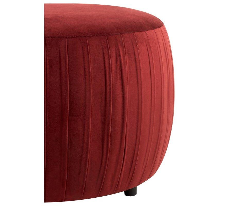 Pouf Round Luxurious On Legs Velvet - Bordeaux