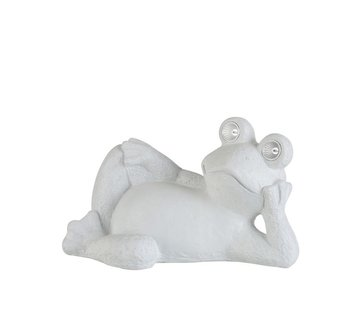 J-Line  Decoration Reclining Frog Solar Polyester - White