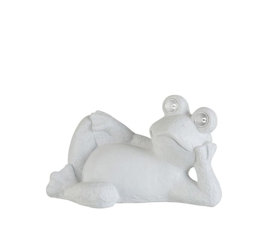 Decoration Reclining Frog Solar Polyester - White