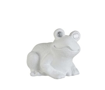 J -Line Decoration Seated Frog Solar Polyester - White