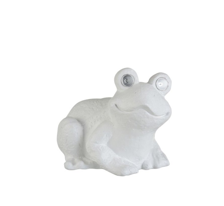 Decoration Seated Frog Solar Polyester - White